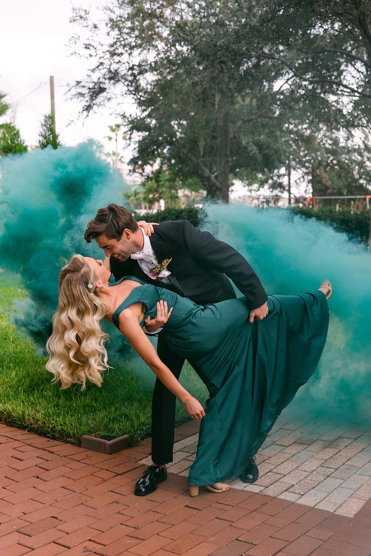 Smoke bomb engagement photos in Tampa by Nina Bashaw
