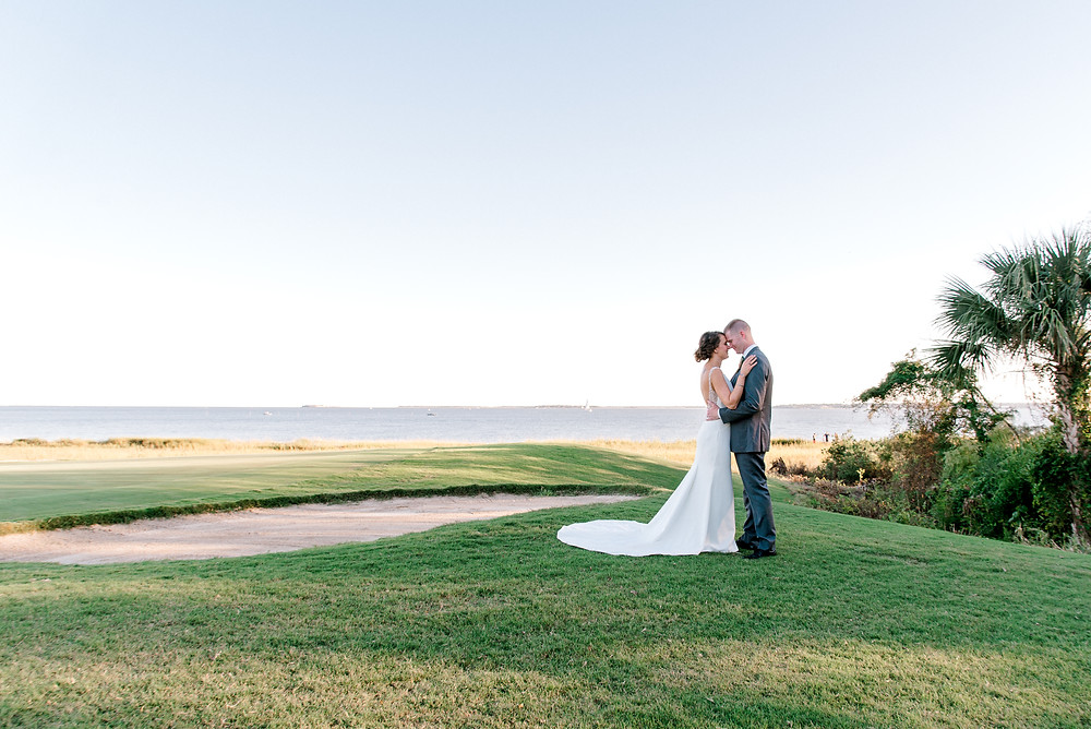 "wedding at Patriots Point Links in Charleston, SC. Charlotte wedding photographer Nina Bashaw | Maggie Sottero ""Evangelina"" dress."
