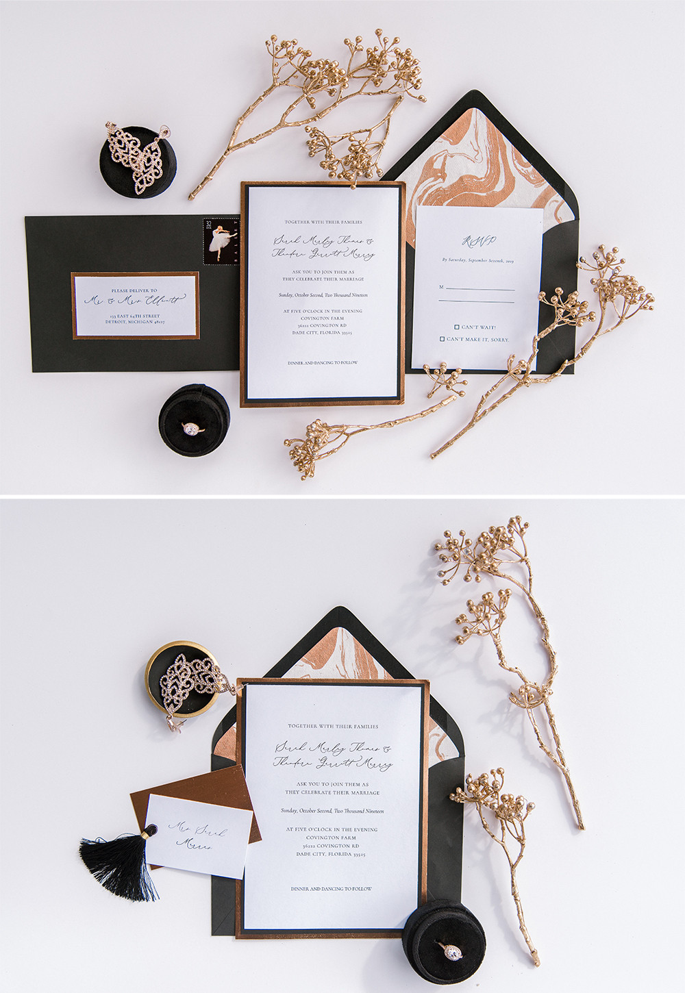 Tampa wedding photographer Nina Bashaw photography share a black and copper wedding at Covington Farms in Dade City