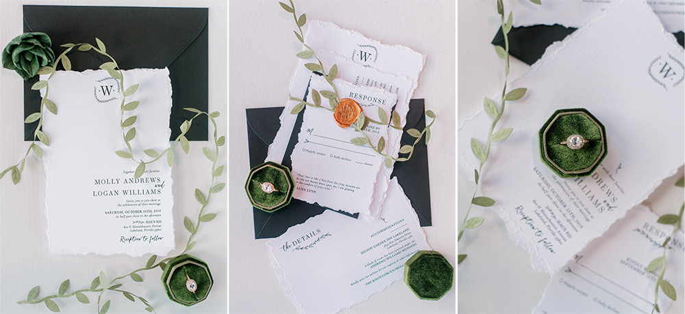 Luna Lynn Creative green wedding invitation suite