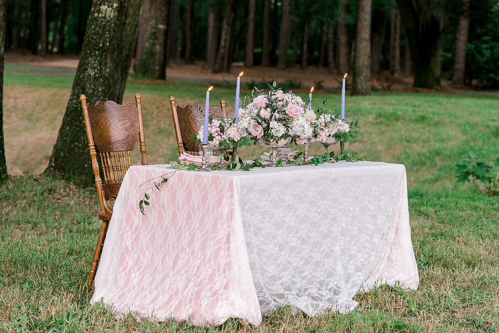 Wedding at Dogwood Downs in Ravenel, SC | Sweetheart table | pastel wedding
