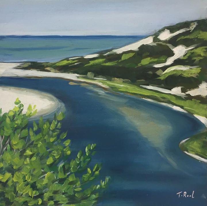 Peppi beach- River 30x30cm Oli on Canvas