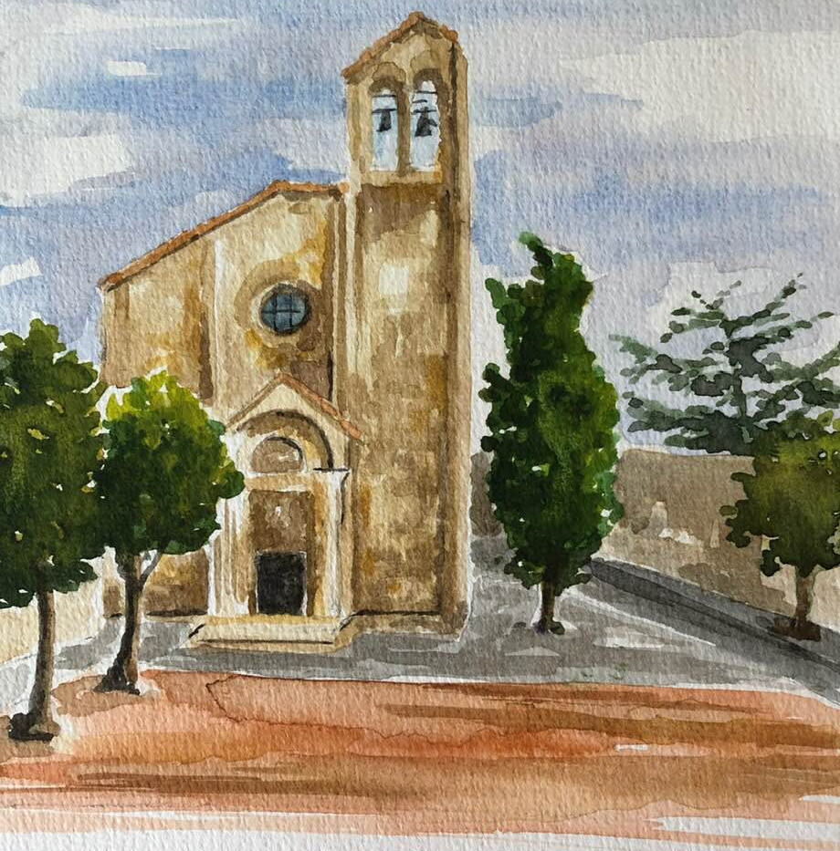 chiesa san domenico, arezzo watercolour