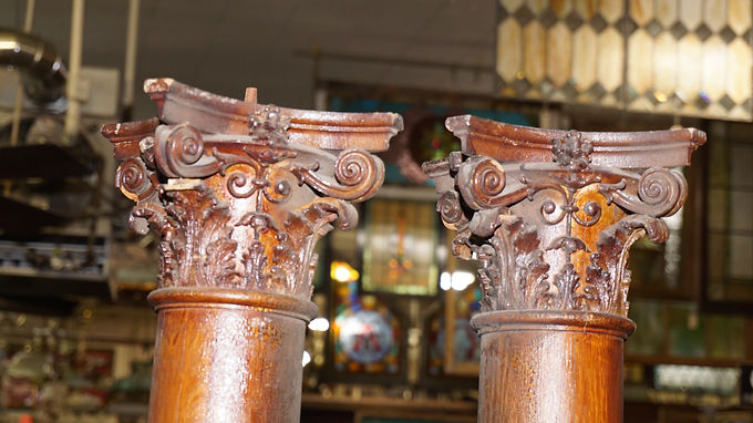 Architectural Oak Columns With Hand Carved Crowns