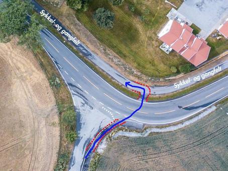 Kjøremønster 1,7 km før mål