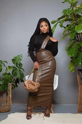 Ezra Leather Overall Skirt — Très Belle Prints