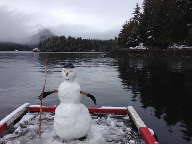 A West Coast Snowman ready to greet us at the dock of Hot Springs Cove