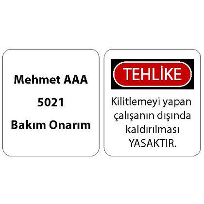 İsimli Asma Kilit Etiketi (Türkçe)