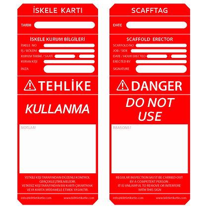İskele Etiketi - Kırmızı (Türkçe / İngilizce)