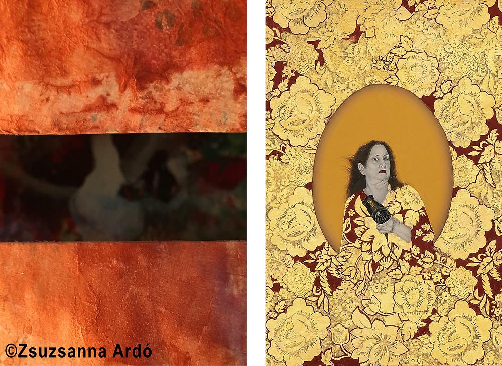Zsuzsanna Ardo detail of installation (left) 'Heraa Khan 'Summer Breeze 2' (right)