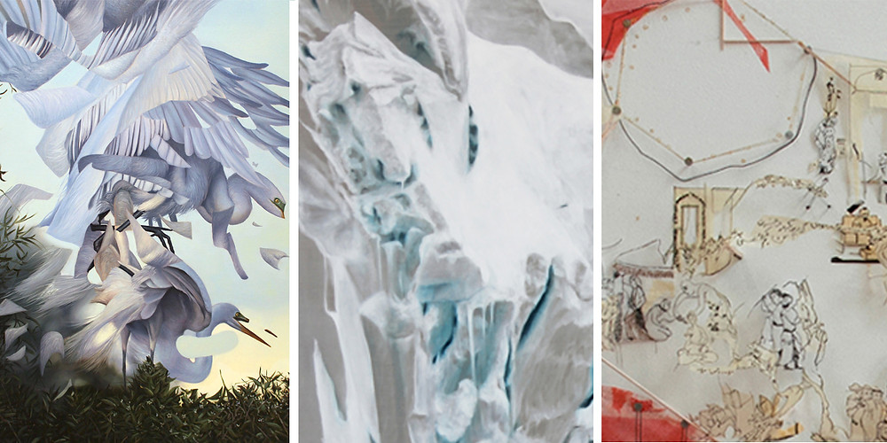 Angela Gram 'Egrets Mating' 2015 (left) Lisa Lebofsky 'Calving Glacier' 2012 (enter) Roya Amigh 'Collision Response' (right)