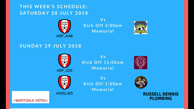 Game schedule for Weekend 28 & 29 July 2018