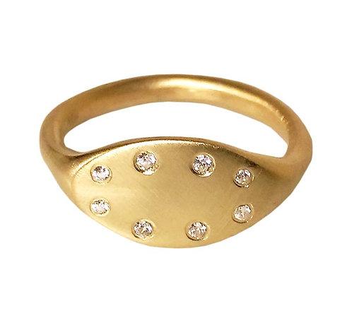 Gold Diamond Chevalier Ring