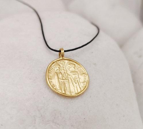 Gold Byzantine coin pendant