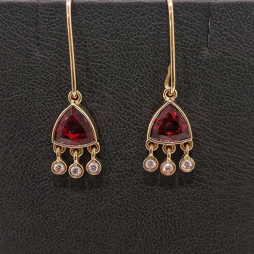 Gold Diamond and Garnet earrings