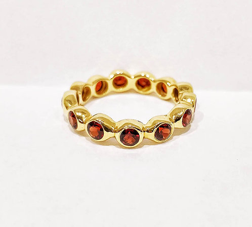 Red Garnet Eternity Ring, 18k Solid Gold, Statement Eternity Band for Women, Full Eternity Garnet Ring, Greek Designer Jewelr