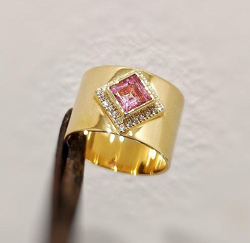 Cigar Diamond Ring With Pink Tourmaline