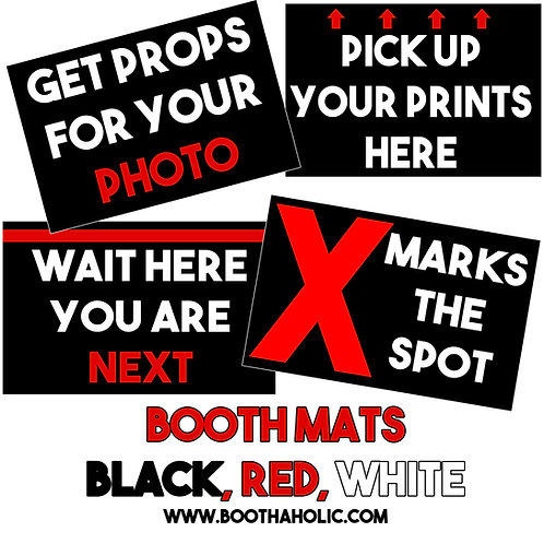 Black White Red Booth Mats