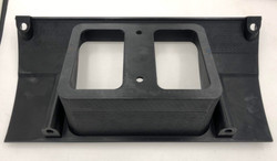 Unfinished 3D print of back of the custom Mazda RX-2 dash with new opening for MicroTech display