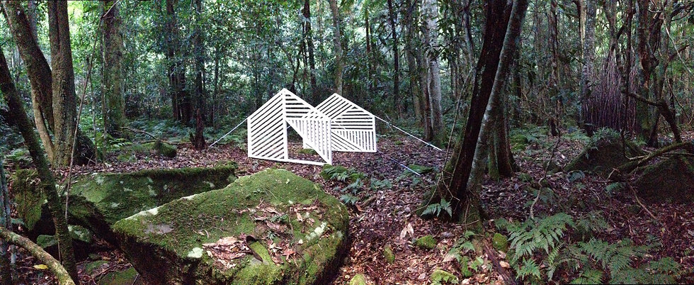 Sculpture installation by Julian Pereira of an abstract tent placed on the forest floor in the Blue Mountains.