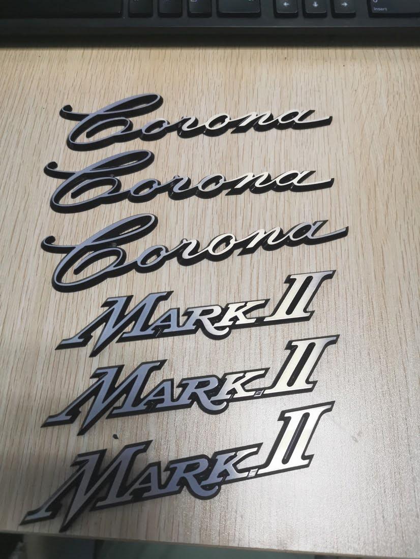 Finished Toyota Corona Mark II badges