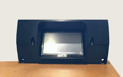 Unfinished 3D print of the custom Mazda RX-2 dash with aftermarket MicroTech display mounted