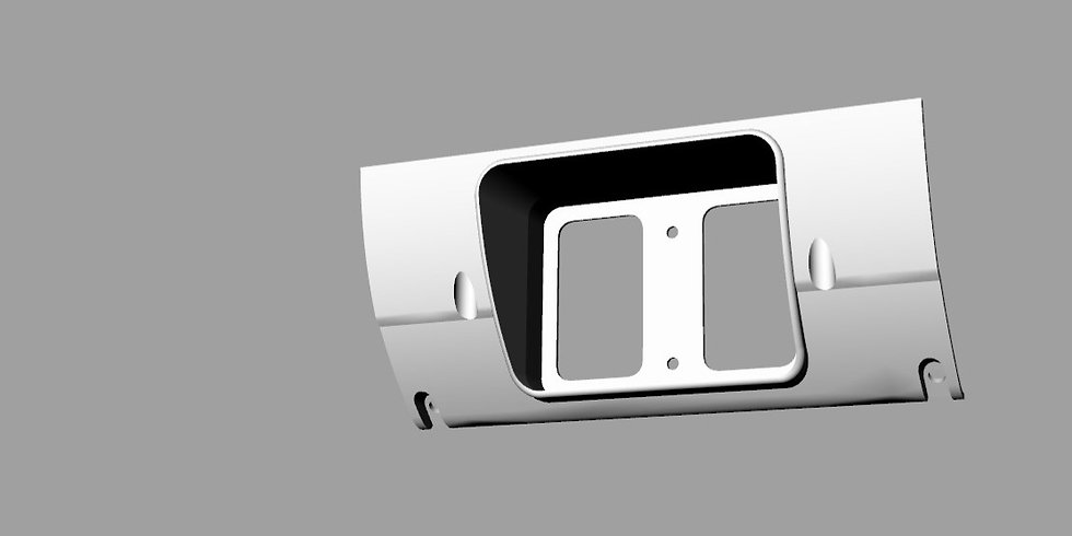 3D CAD model of a Mazda RX-2 dash modified for a microtech screen.