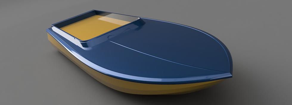 Racing boat 3D digital render