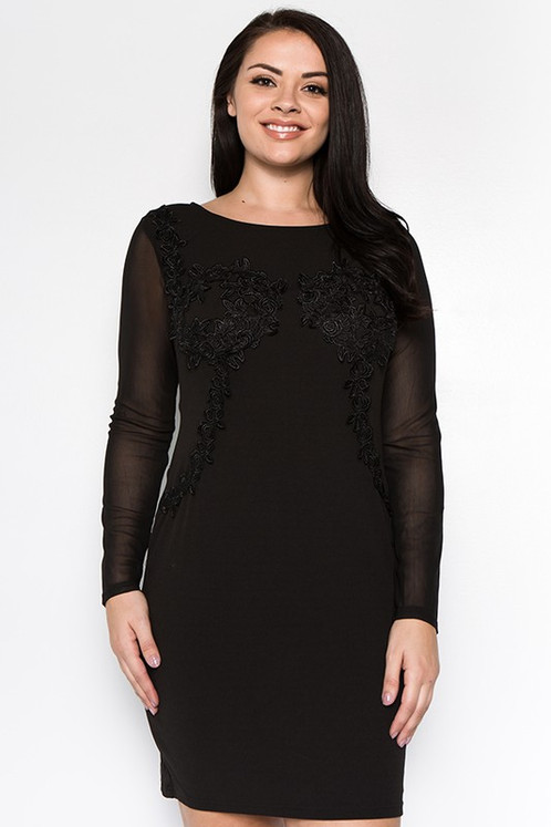 Curvycollection Black Applique Dress With Mesh Sleeves