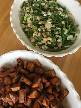 Fava salad and roasted sweet potatoes