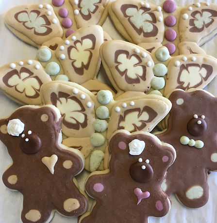 All-natural teddy bear and butterfly sugar cookies