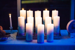 Custom-designed candles for ceremony