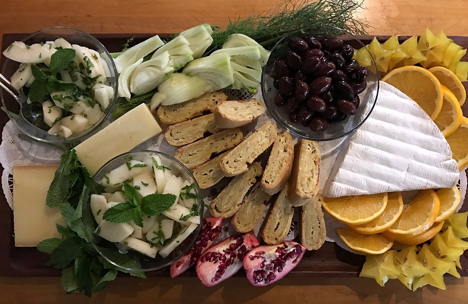 Cheese board with Asian pear salad and Italian savory strudel