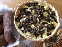 Mushroom and chevre tart