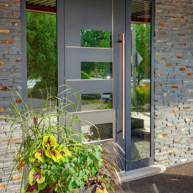 Aluminum Entrance Door with two side lights and glass inserts