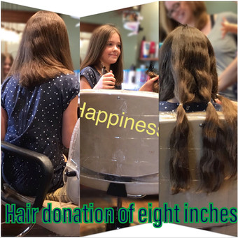 she donated over 5 inchs of hair