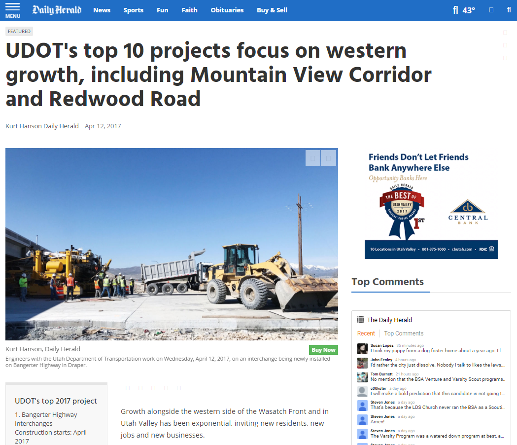 Daily Herald UDOT's top 10 projects