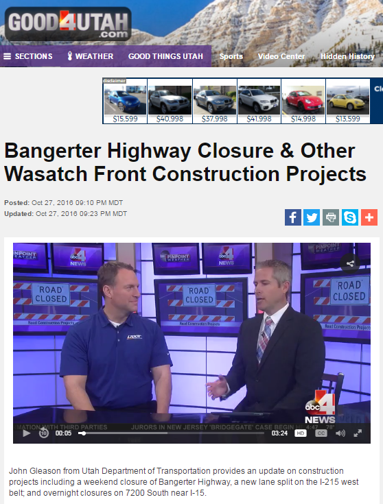 Bangerter Highway Closure