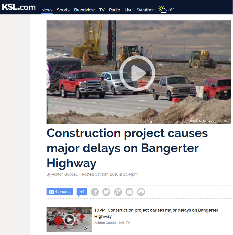 Construction project causing delays