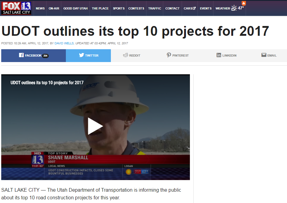 Fox 13 UDOT outlines