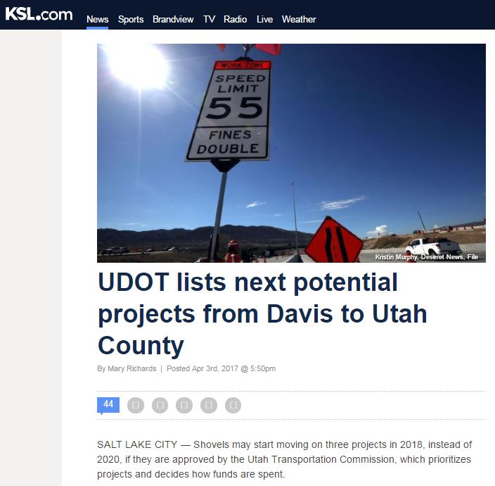 KSL UDOT lists next potential