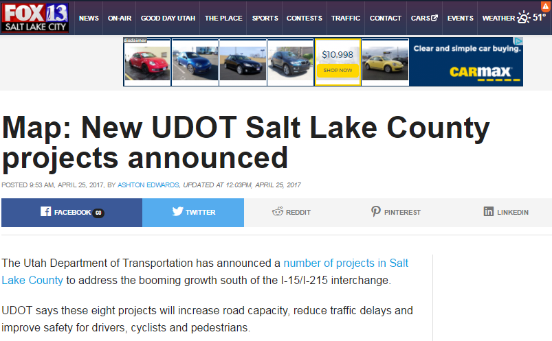 Fox13 Map New UDOT