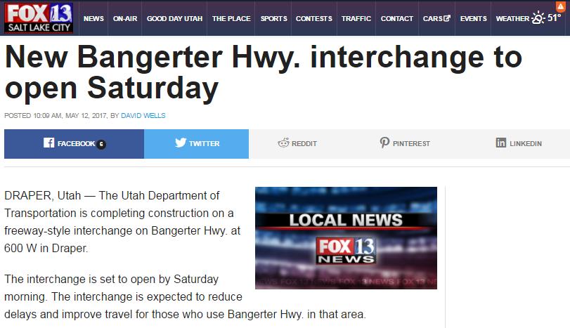 Fox13 New Bangerter Hwy