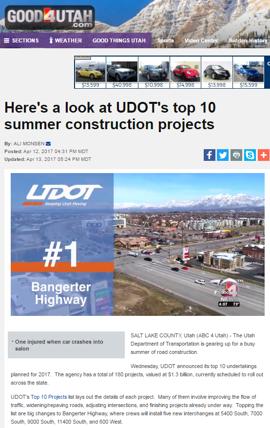 ABC4 Here a look at UDOT's