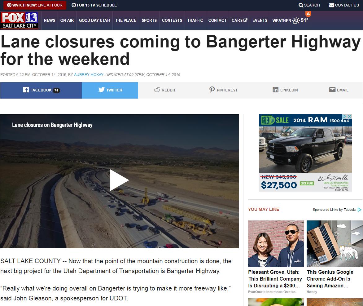 Fox 13 Lane Closures