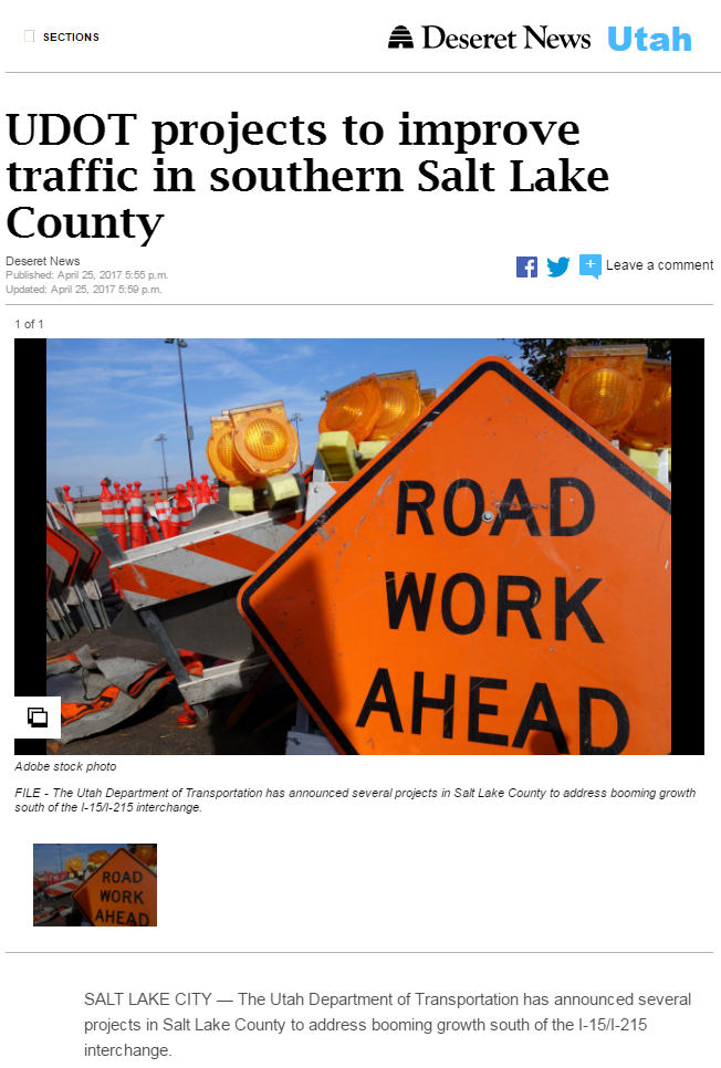 Deseret UDOT project to improve
