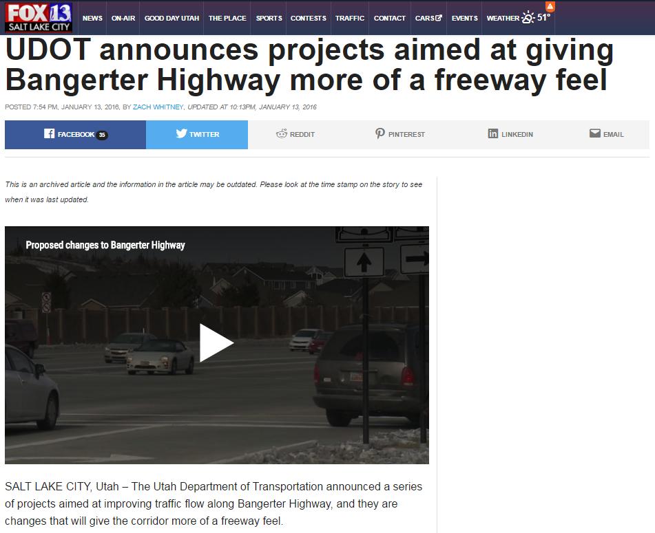 Fox 13 Bangerter freeway feel