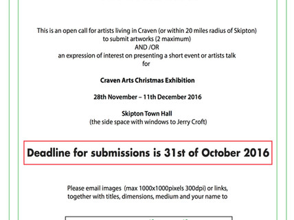 Call for Submissionsfor Craven Arts Christmas Exhibition Deadline: 31st of October 2016