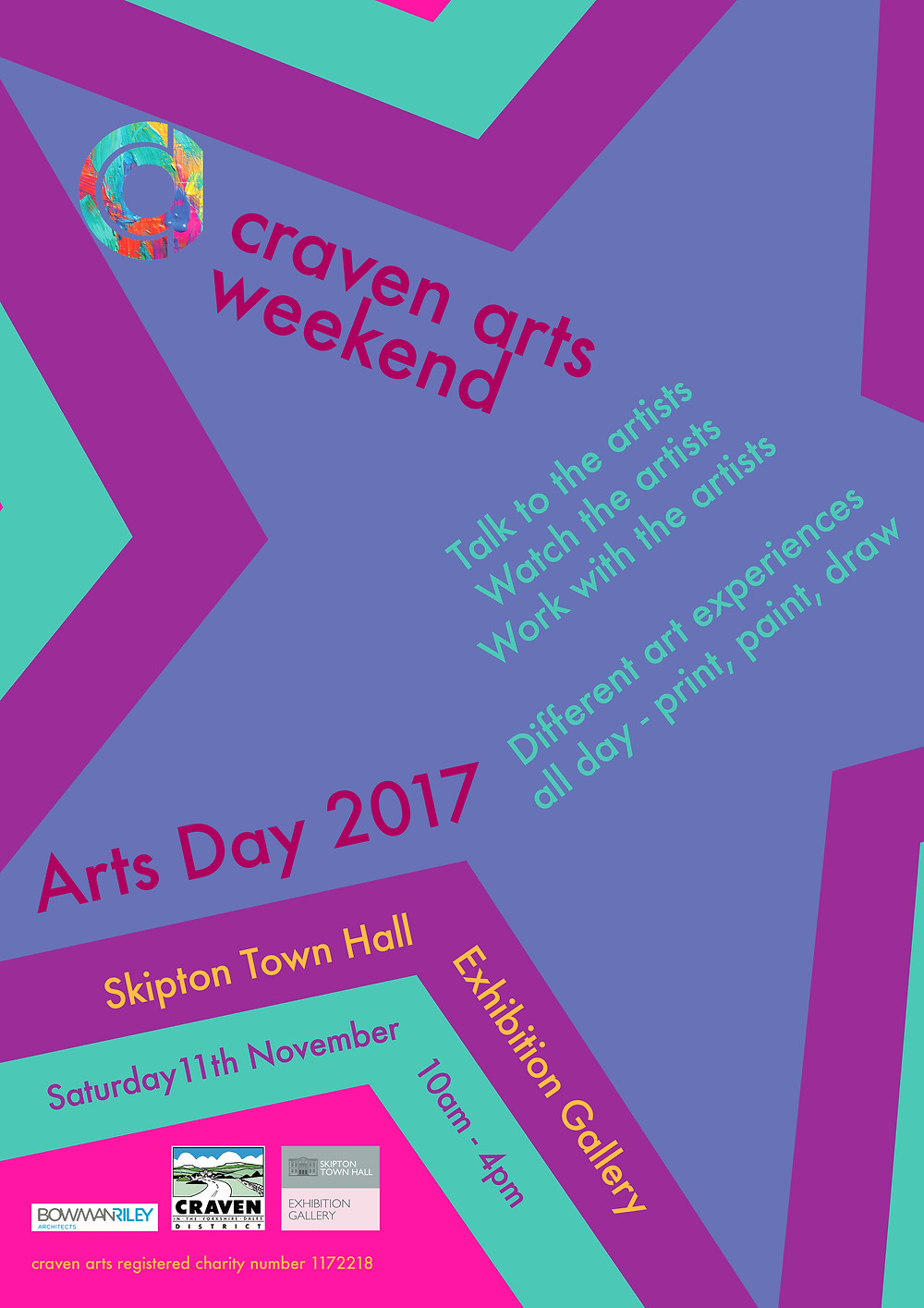 Details on craven arts Arts Days 2017 at Skipton Town Hall, 11 November 2017 between 10am and 4pm