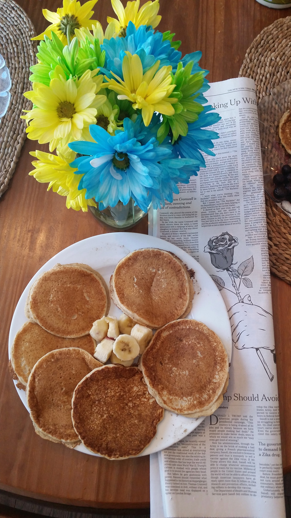 Pancakes and the newspaper